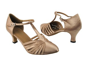 "6829 Light Brown Satin with 2.5"" low heel in the photo"