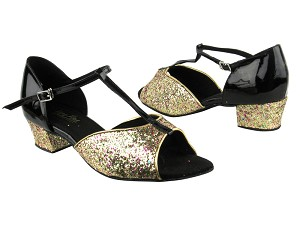 "801 184 Rainbow Sparkle_H_Black Patent with 1.5"" Medium Heel in the photo"