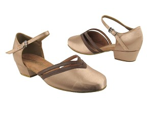 "8881 135 Light Brown Satin_133 Coffee Brown Trim with 1"" Women Heel in the photo"