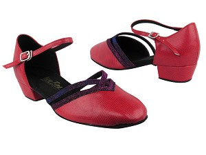 "8881 175 Red Snake_155 Purple Illusion Trim with 1"" Women Heel in the photo"