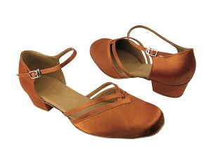 "8881 182 Orange Tan Satin with 1"" Medium heel in the photo"