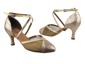 "9622 125 Gold Stardust_108 Mesh_57 Light Gold Leather Trim with 2.75"" heel in the photo"