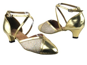 "9622 Gold Leather_T_74 Gold Sparklenet_M with 1.3"" Cuban heel in the photo"
