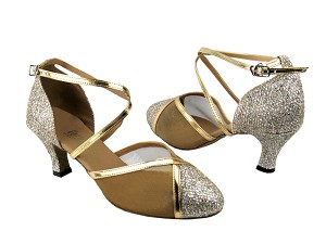 "9622 Gold Sparklenet & Gold Leather Trim & Gold Mesh with 2.5"" Low Heel in the photo"