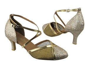 "9622 Gold Sparklenet & 108 Mesh & Gold Leather Trim with 2.75"" in the photo"