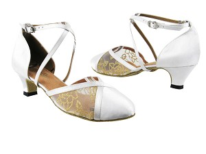 "9622 White Satin_79 Mesh with 1.3"" Cuban heel in the photo"