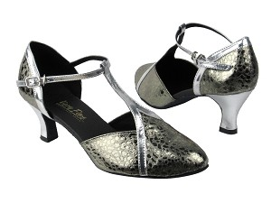 "9625 208 Ultra Grey_55 Silver Leather Trim with 2.5"" low heel in the photo"
