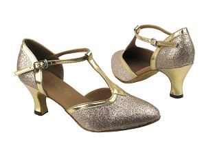 "9627 125 Gold Stardust_Gold Leather Trim with 2.5"" low heel in the photo"