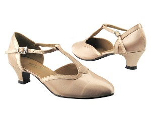 "9627 135 Light Brown Satin with 1.3"" Cuban heel in the photo"