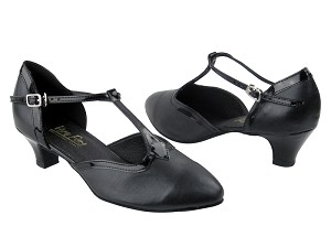 "9627 Black Leather & Black Patent Trim with 1.3"" Heel in the photo"