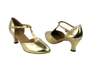 "9627 Gold Leather & Gold Leather Trim with 2.5"" Low Heel in the photo"
