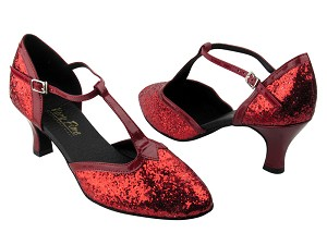 "9627 Red Sparkle & Red Patent Trim with 2.5"" Low Heel in the photo"