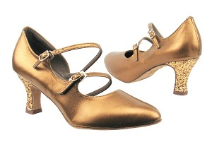 "PP201 BA45 Dark Tan Gold_BH5 Dark Tan Sparkle Heel with 2.5"" heel in the photo"