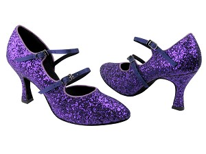 "PP201 BH2 Purple Sparkle & BD71 Purple Satin Trim with 3"" Flare Heel in the photo"