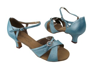 "PP204 BC10 Light Blue Light Leather with 2"" Slim Cuban heel in the photo"