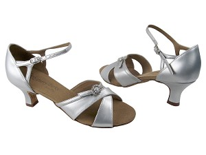 "PP204A BB3 Silver Leather with 2"" Slim Heel in the photo"
