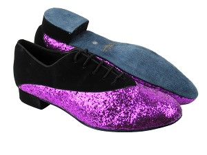 "2504 Black Nubuck_11 Purple Sparkle with 1"" Heel in the photo"
