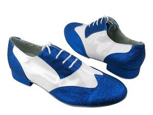 "M100101 234 Blue Stardust_White Patent with 1"" Standard heel in the photo"