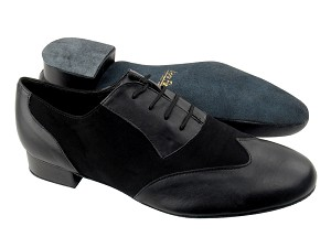 "M100101 Black Leather_Black Nubuckwith 1"" Standard heel in the photo"
