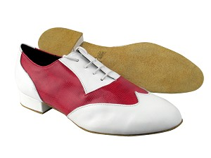 "M100101 White Leather_175 Red Snake with 1"" Standard heel in the photo"