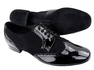 "PP301 BB2 Black Patent_L_BA57 Black Nubuck with 1"" Standard heel in the photo"