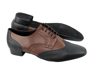 "PP301 Black Leather_Dark Tan Leather with 1"" Standard heel in the photo"