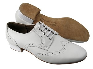 "PP301 White Leather with 1"" Standard heel in the photo"