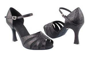 "SERA3850 Black Stardust & Black Mesh with 3"" heel in the photo"